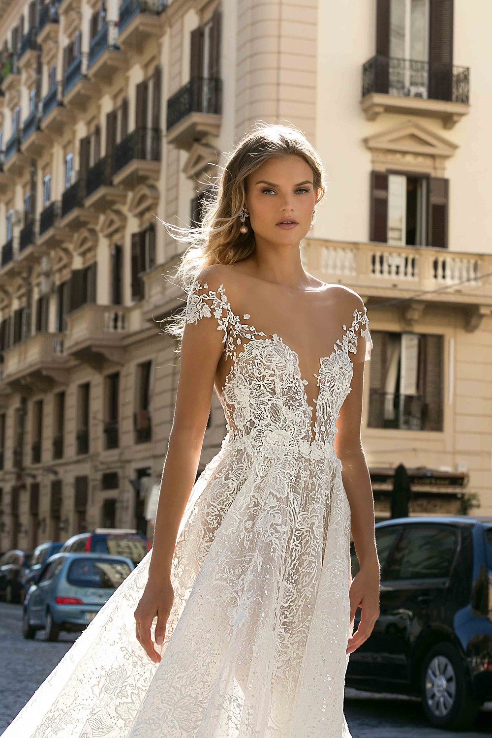 A Berta 2020 off the shoulder, A-line lace wedding dress, with an illusion deep v neckline