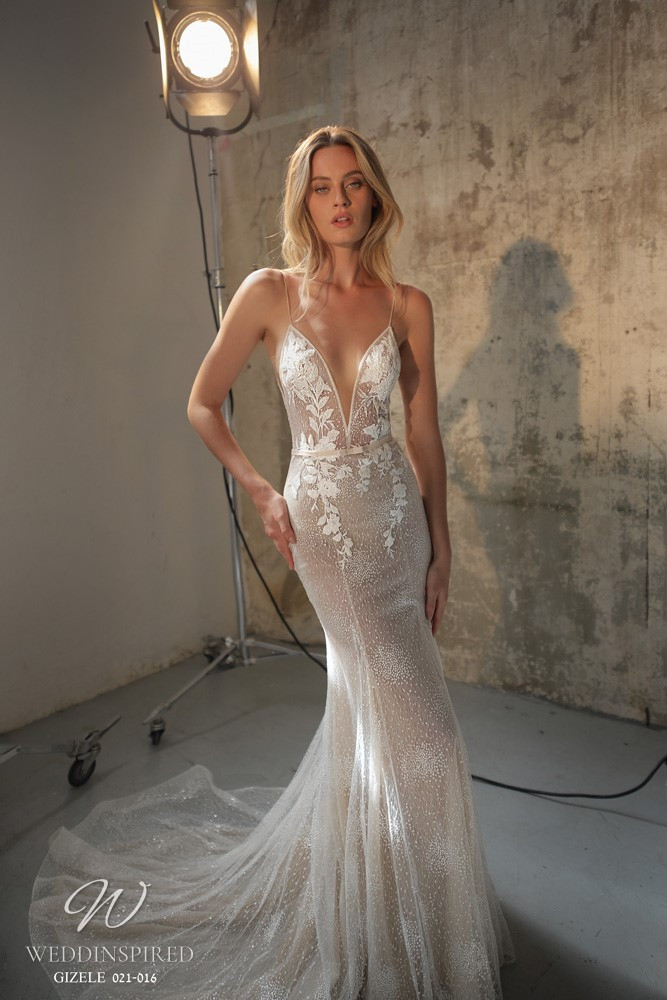 A Gali Karten 2021 nude lace mermaid wedding dress with thin straps and a v neck