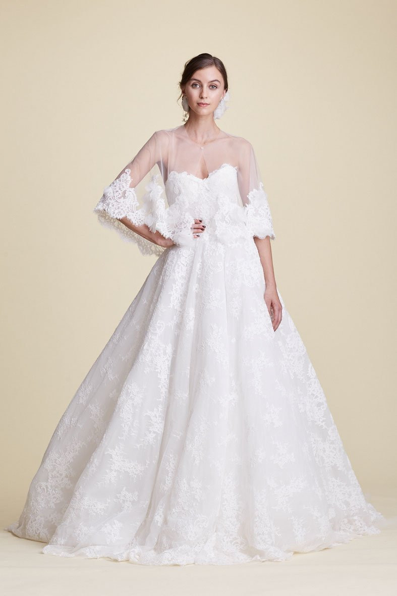 A Marchesa strapless romantic lace ball gown wedding dress