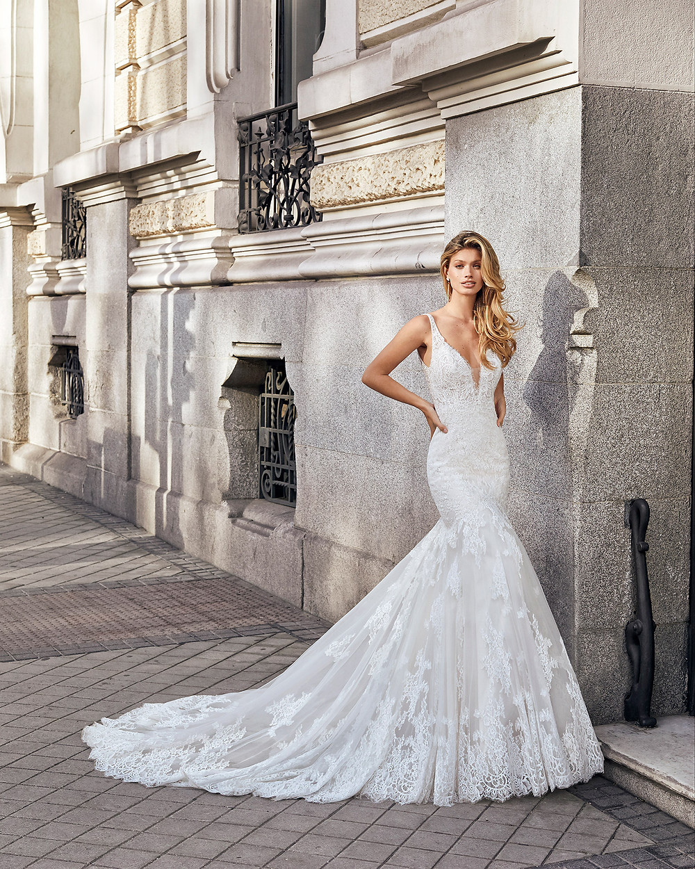 An Aire Barcelona 2020 lace mermaid wedding dress with straps