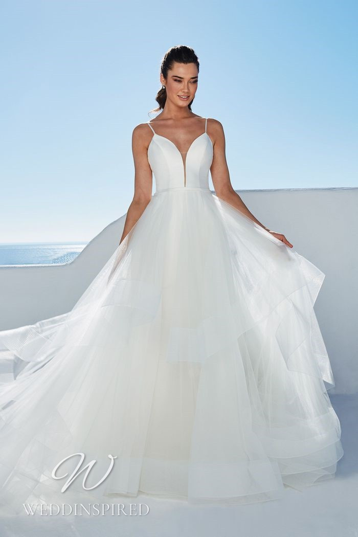 A Justin Alexander 2021 satin and tulle A-line wedding dress