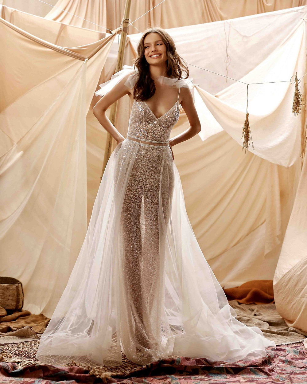 A Berta 2021 wedding jumpsuit with tulle detachable skirt and sparkles