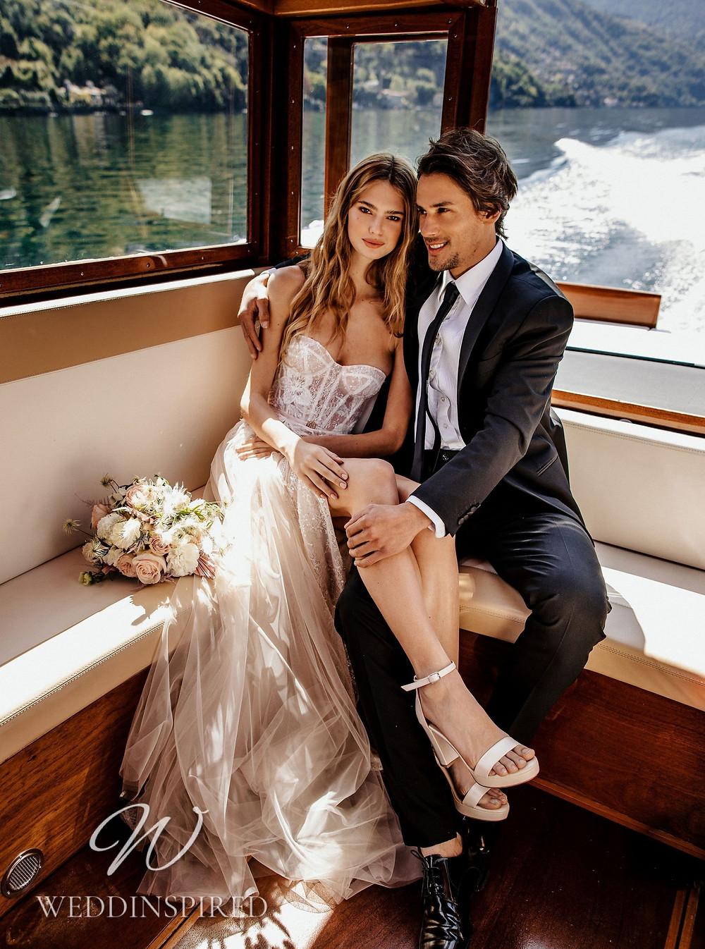 A Berta 2022 strapless blush A-line wedding dress