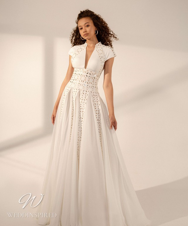 A Rara Avis 2021 simple mesh, lace and crepe A-line wedding dress with cap sleeves