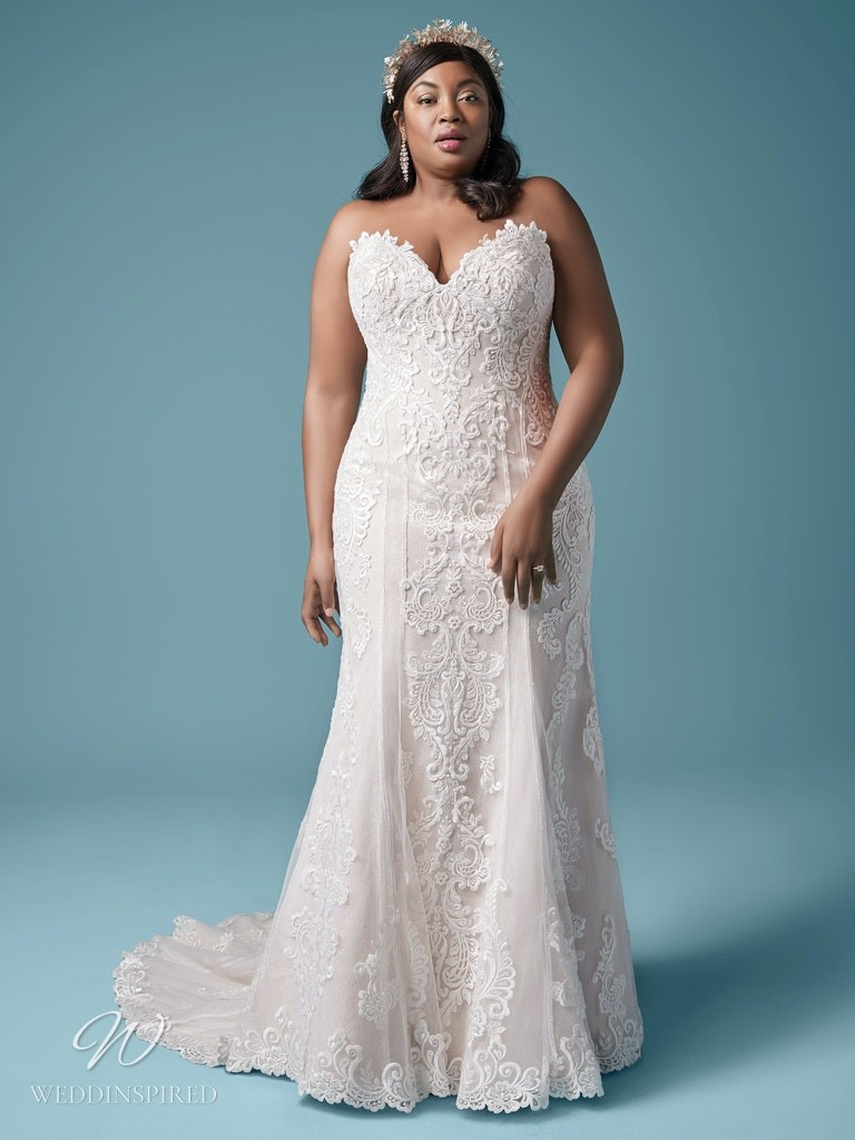 A Maggie Sottero 2021 plus size strapless lace mermaid wedding dress