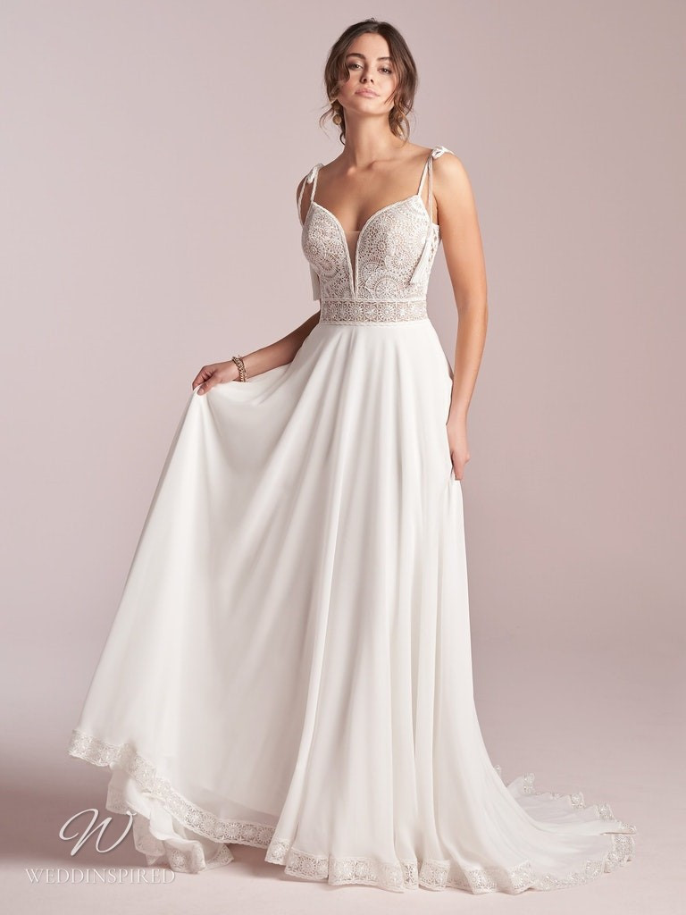 A Rebecca Ingram 2020 lace and crepe soft flowy A-line wedding dress
