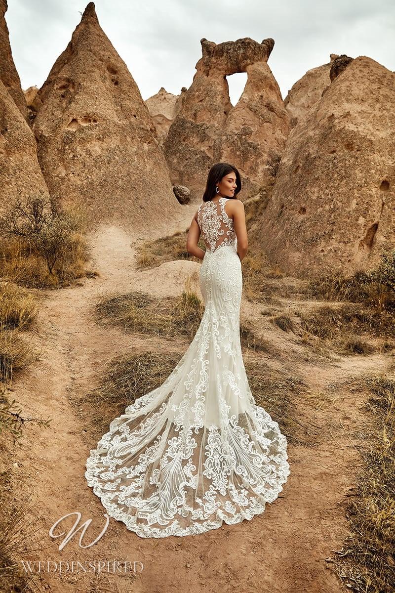 An Eddy K 2021 lace mermaid wedding dress