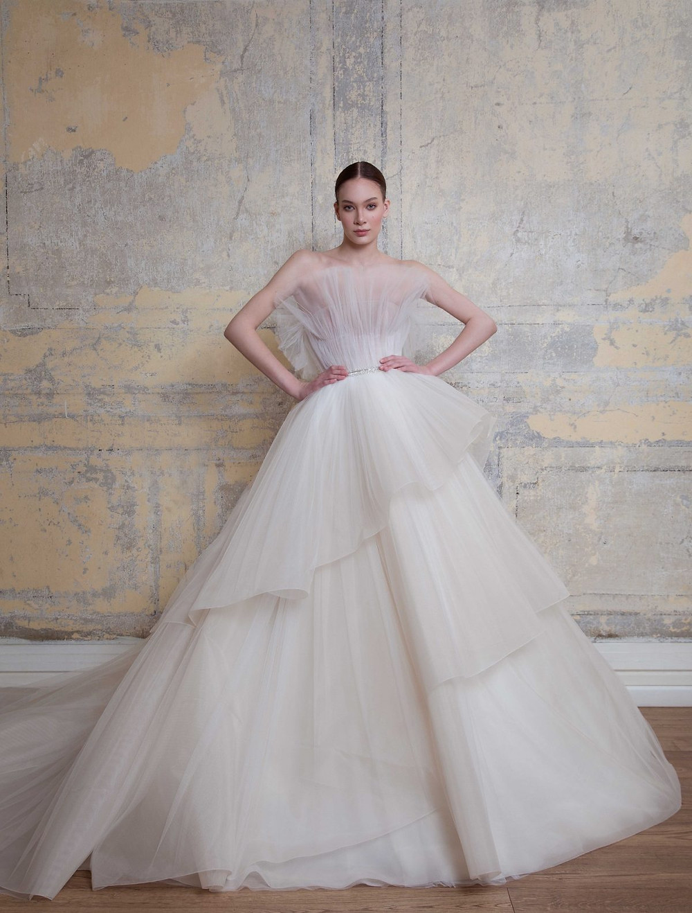 A Georges Hobeika strapless ball gown wedding dress with a layered tulle skirt
