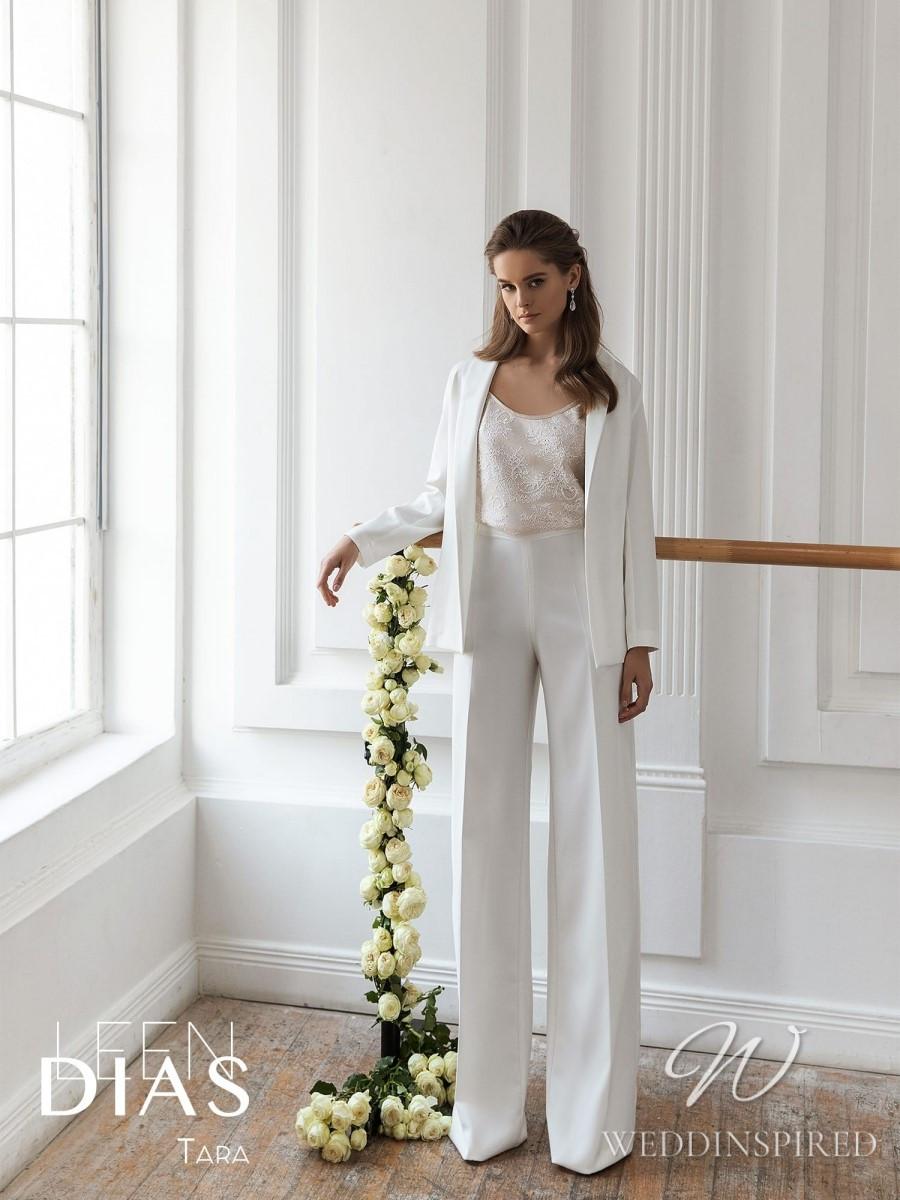 A Leen Dias 2021 simple satin wedding pantsuit