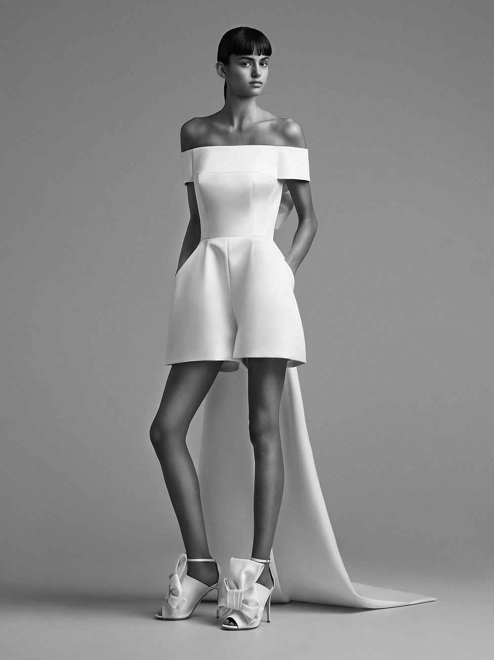A Viktor & Rolf off the shoulder wedding playsuit with a cape