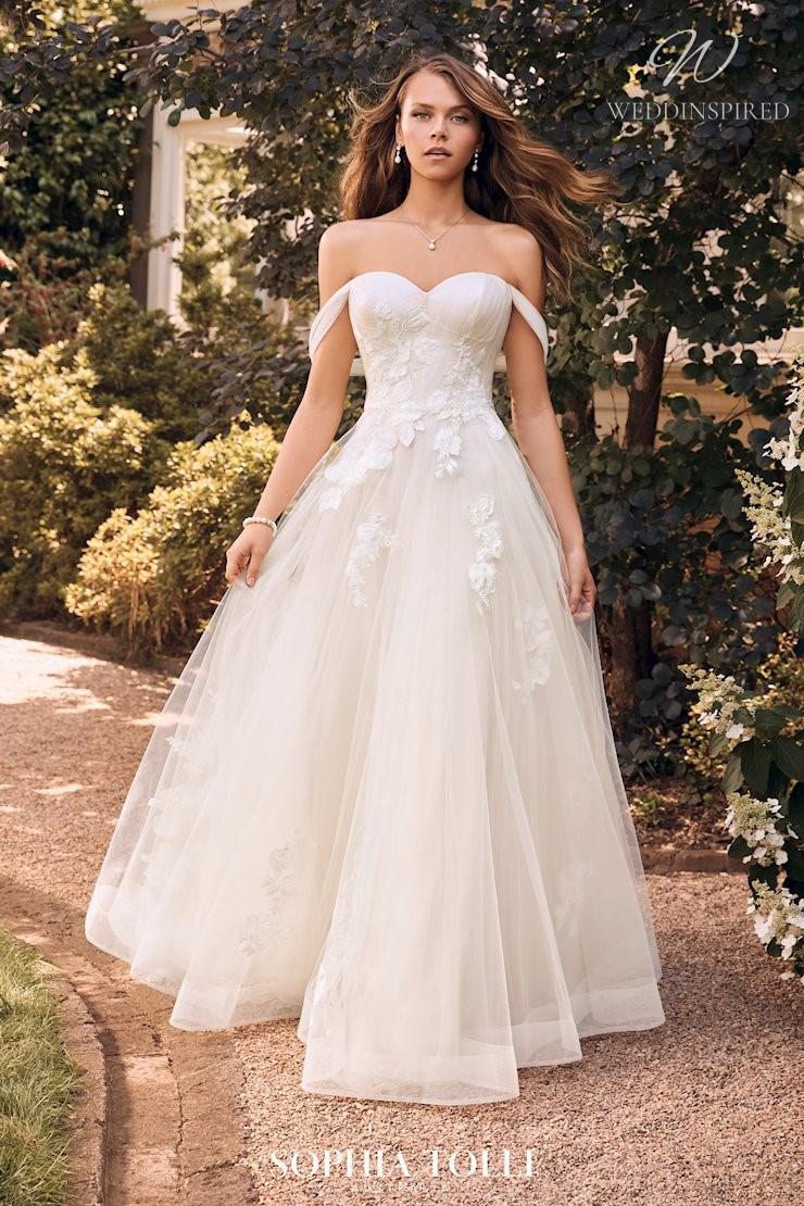 A Sophia Tolli off the shoulder tulle A-line wedding dress