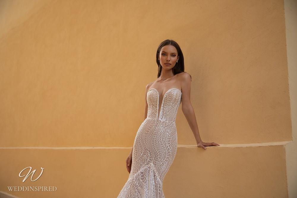 An Eden Aharon 2020 sparkly strapless mesh mermaid wedding dress