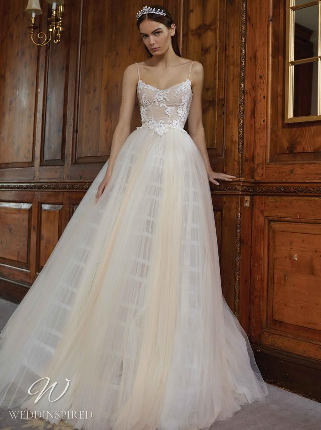 A Galia Lahav 2021 ivory lace and tulle ballerina ball gown wedding dress with straps