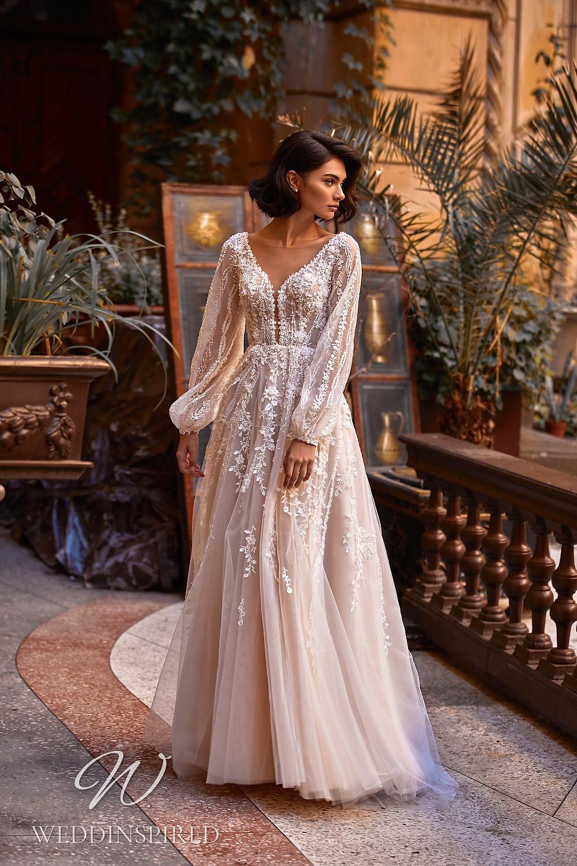 A Daria Karlozi 2021 blush tulle boho A-line wedding dress