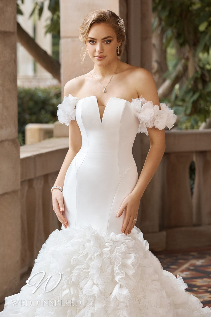 A Sophia Tolli 2021 off the shoulder satin and tulle mermaid wedding dress