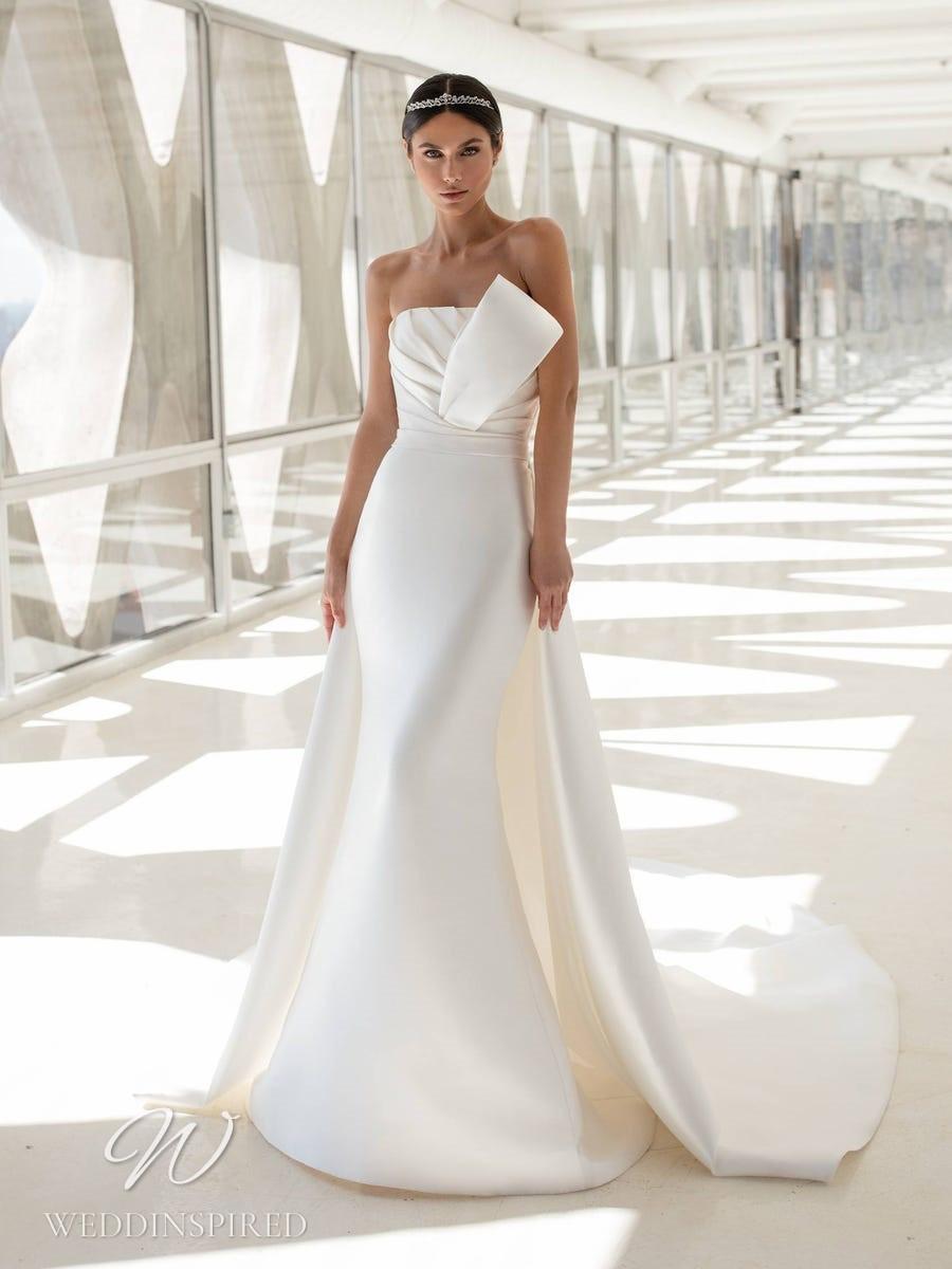 A Pronovias 2021 strapless satin mermaid wedding dress