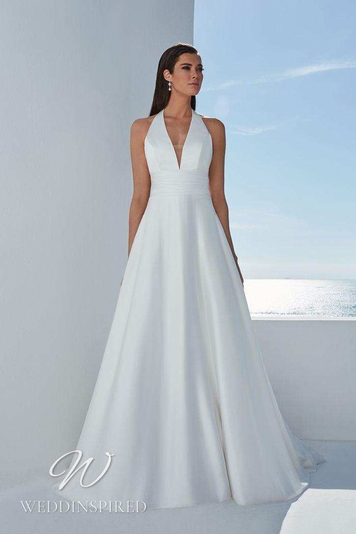 A Justin Alexander 2021 simple halterneck satin A-line wedding dress