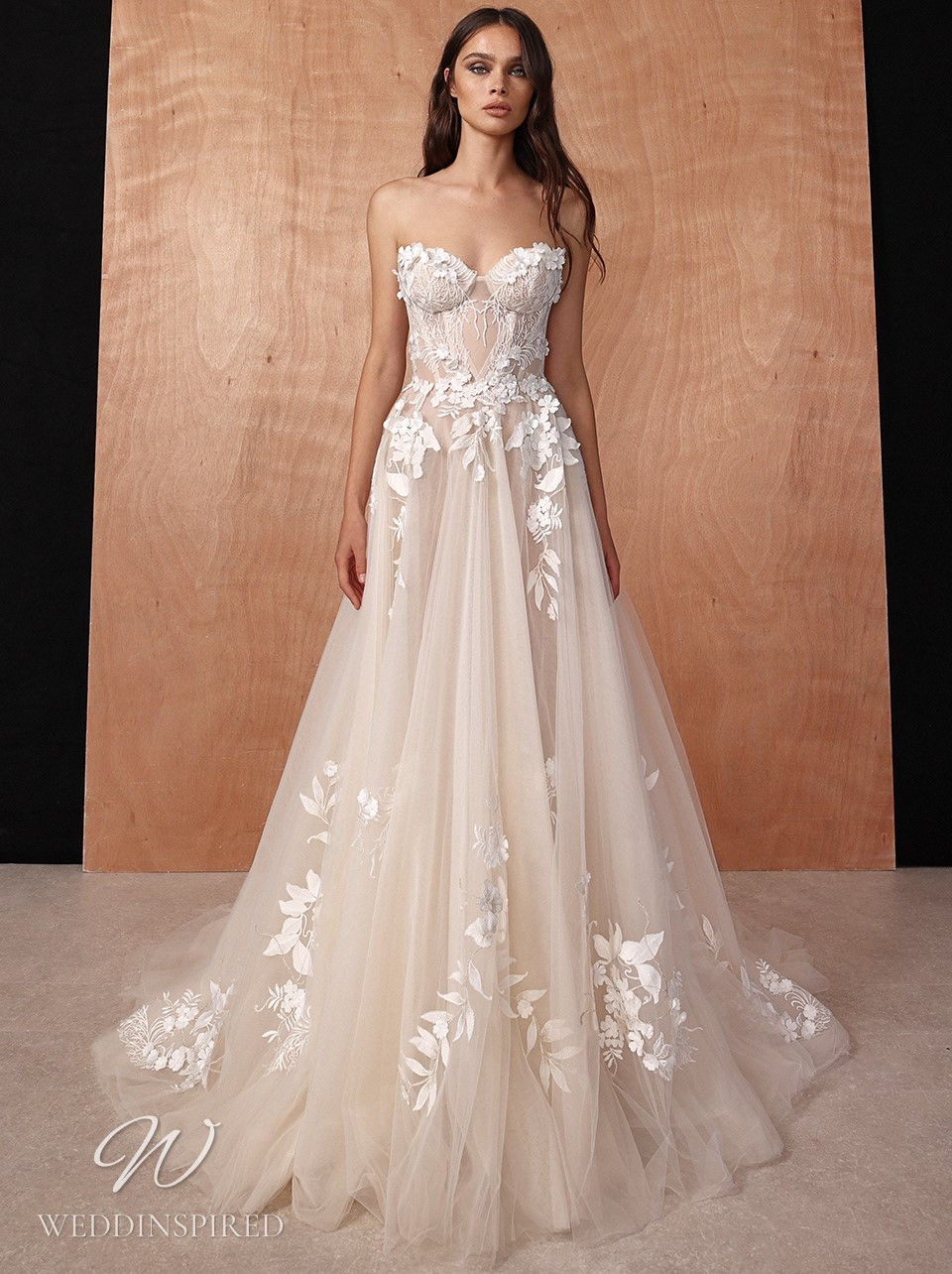 A Galia Lahav 2022 strapless lace and tulle A-line wedding dress