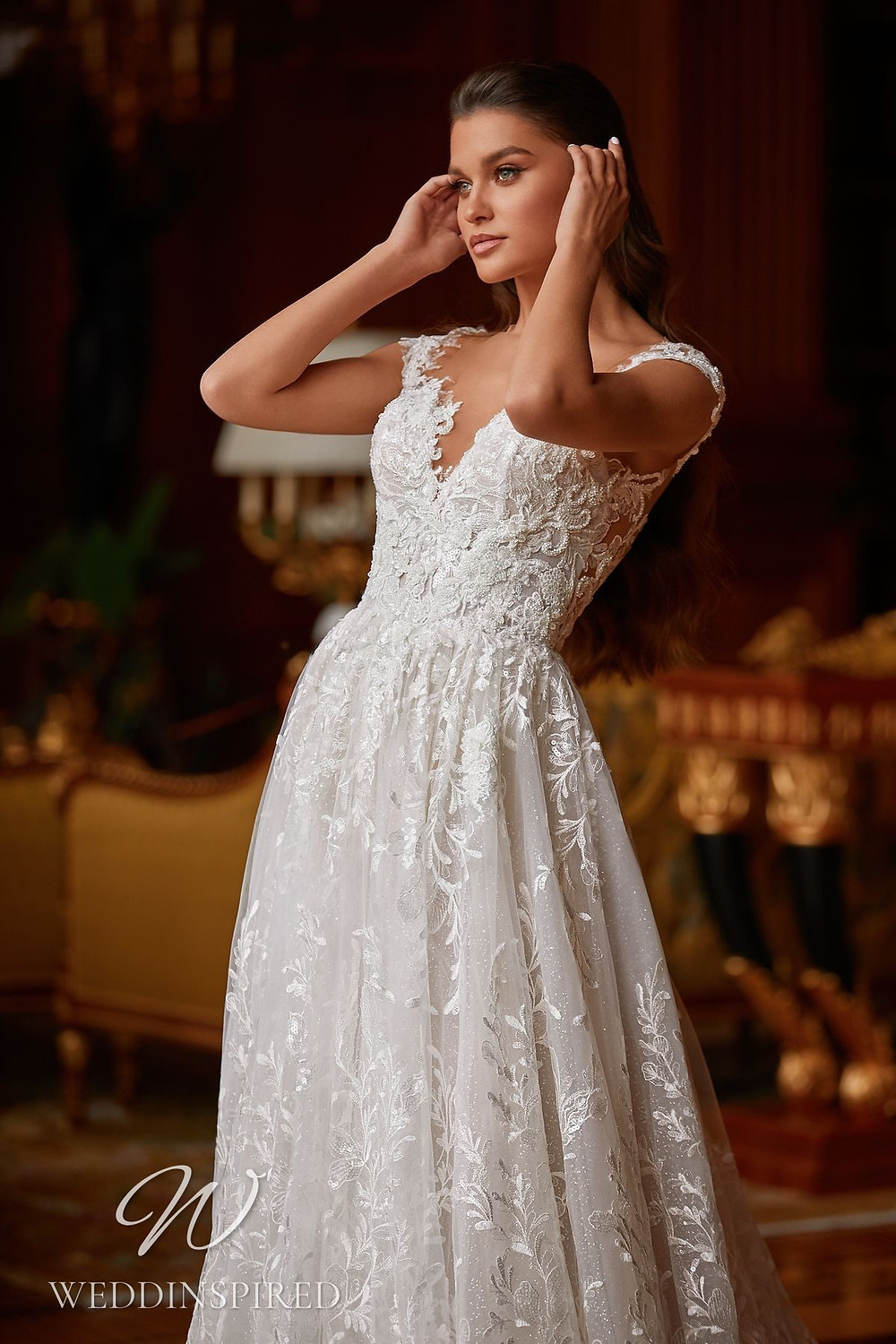 A Pollardi 2021 lace and tulle A-line wedding dress