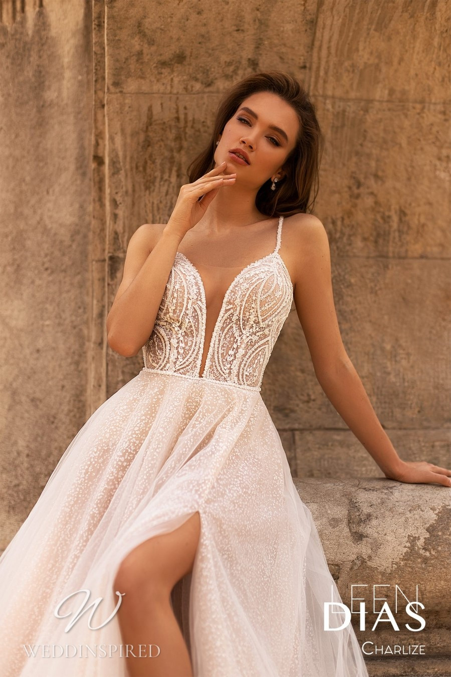 A Leen Dias 2021 lace and tulle A-line wedding dress