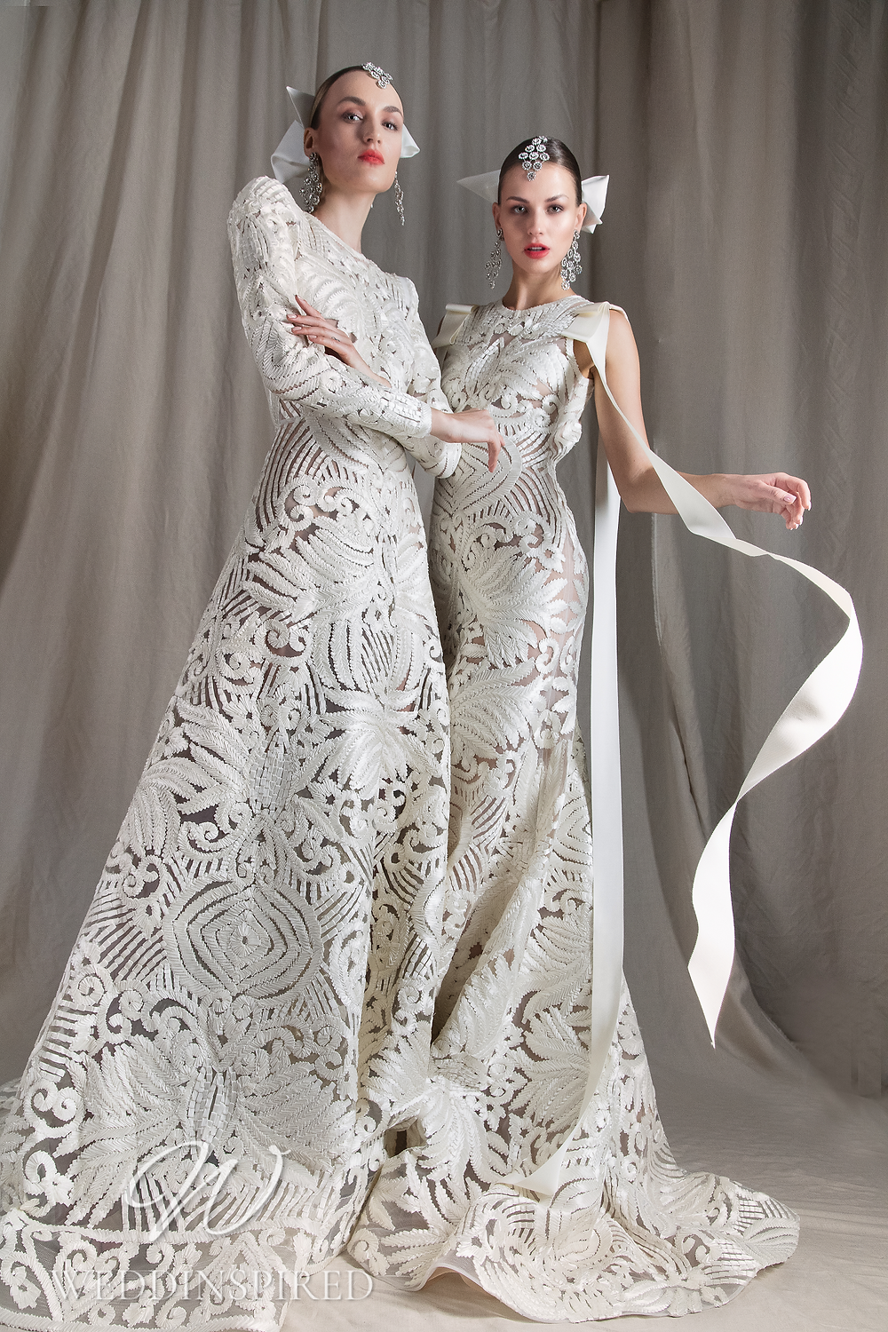 A Naeem Khan 2022 lace A-line wedding dress with long sleeves