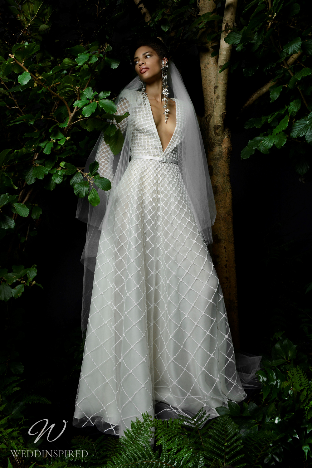 A Naeem Khan Fall 2021 mesh A-line wedding dress with a v neck and long sleeves