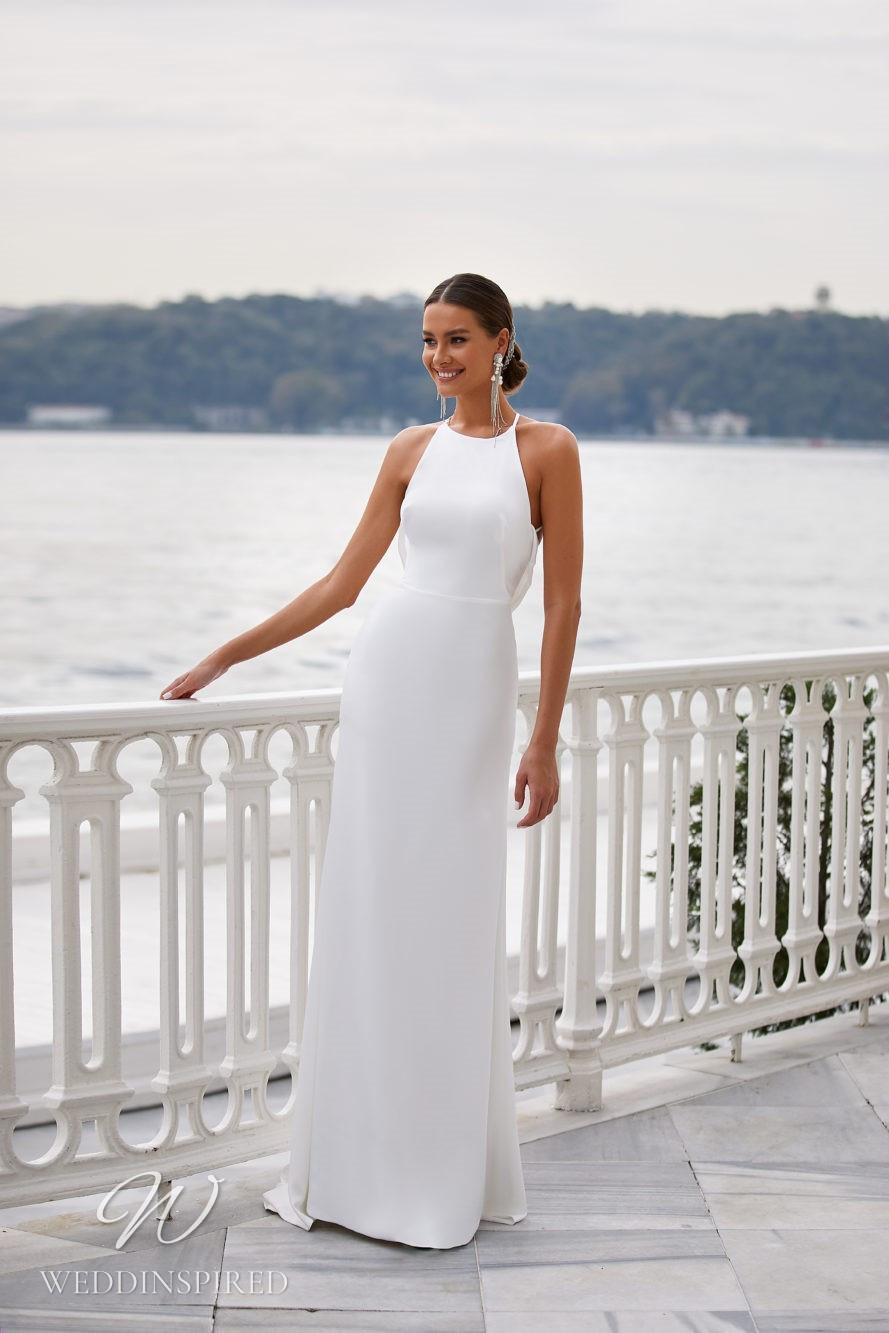A Milla Nova 2021 simple satin halterneck sheath wedding dress