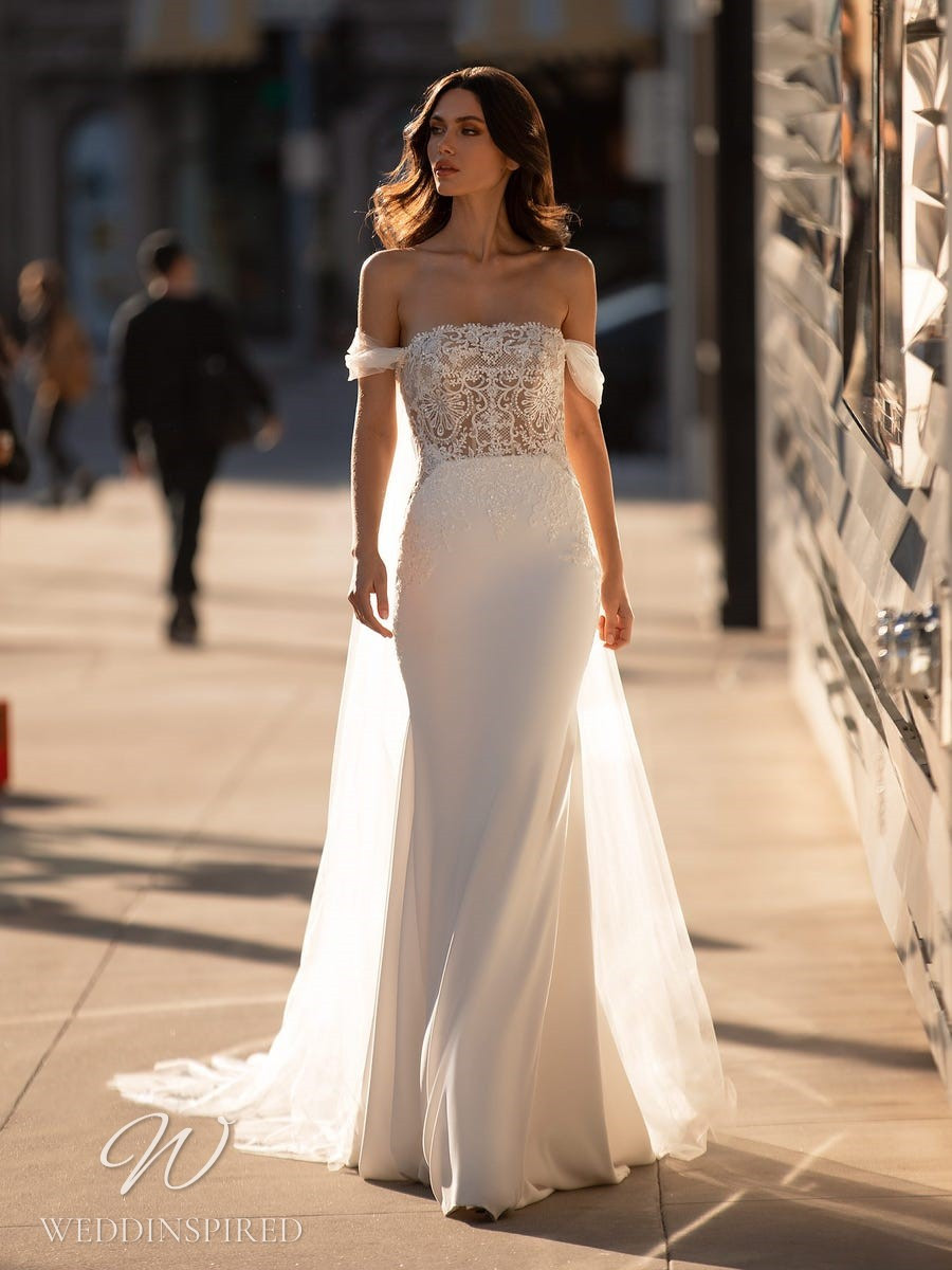 A Pronovias 2021 lace and satin off the shoulder mermaid wedding dress