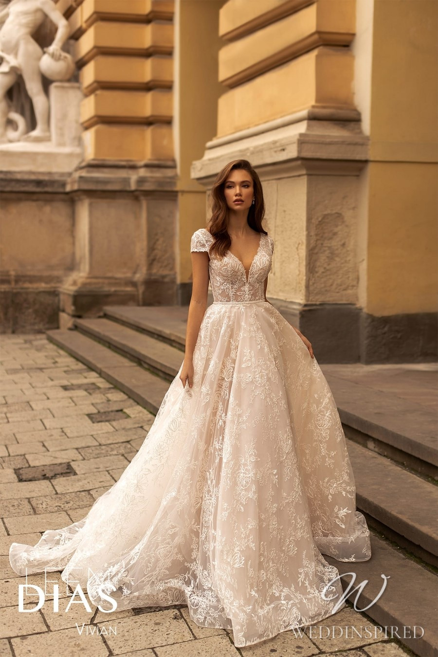 A Leen Dias 2021 lace princess wedding dress with cap sleeves