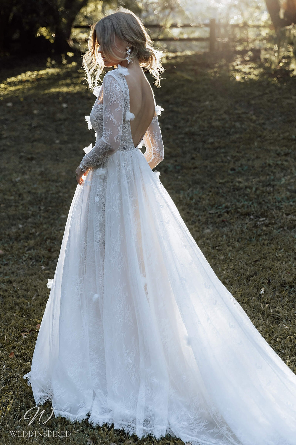 A Grace Loves Lace 2021 lace A-line wedding dress with long sleeves and a low back