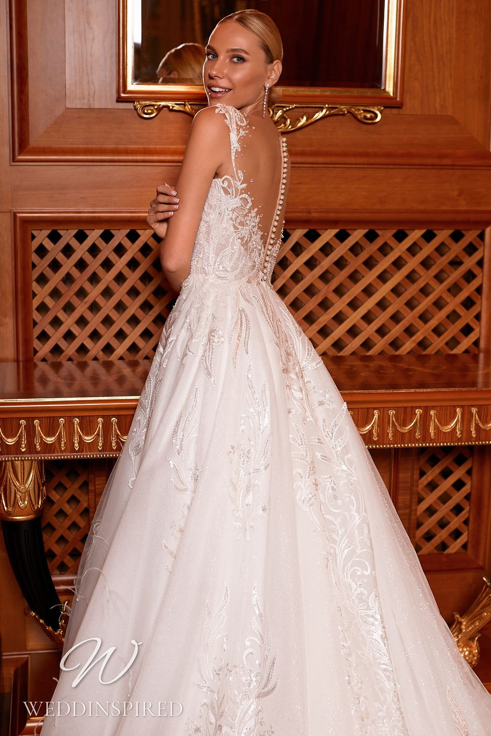 A Pollardi 2021 backless lace and tulle A-line wedding dress