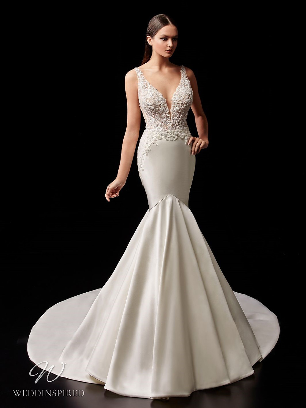 An Enzoani lace and silk mermaid wedding dress with straps