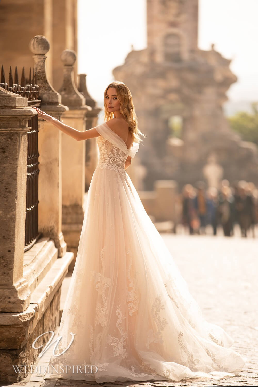 An Essential by Lussano 2021 blush lace and tulle A-line wedding dress