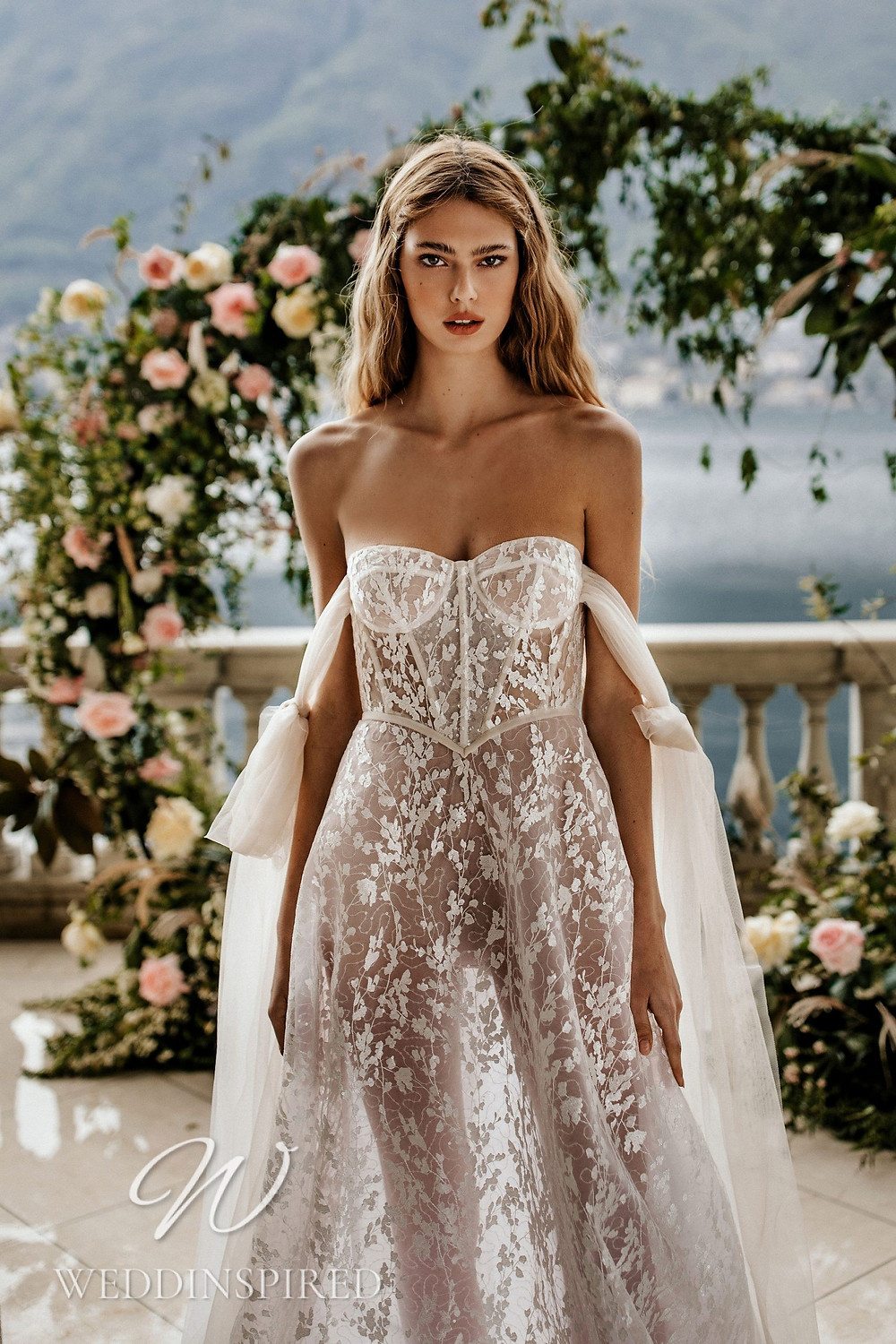 A Berta 2022 strapless lace and tulle A-line wedding dress