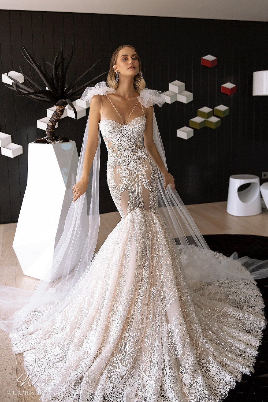 A Tina Valerdi blush lace mermaid wedding dress with a sweetheart neckline