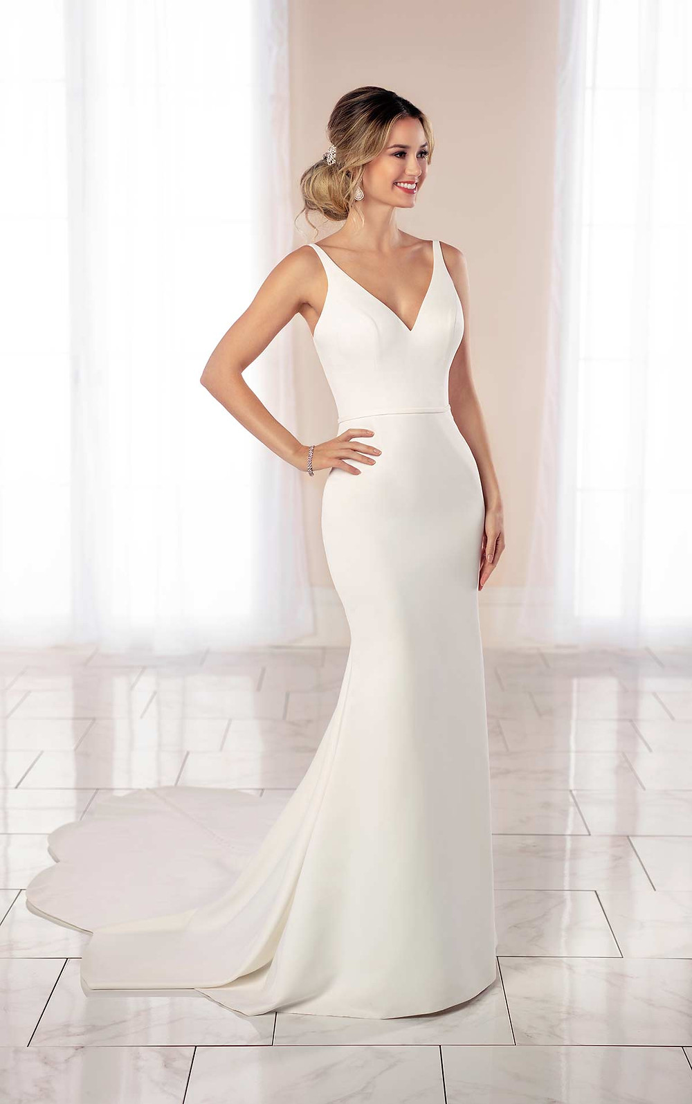 A Stella York 2020 simple crepe mermaid fit and flare wedding dress with straps