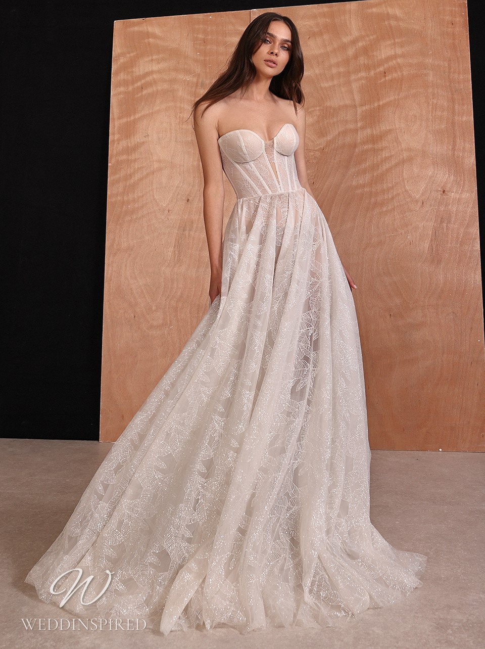 A Galia Lahav 2022 strapless lace A-line wedding dress