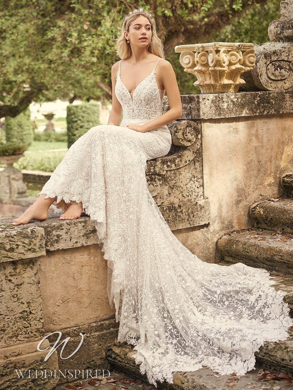 A Maggie Sottero 2021 lace mermaid wedding dress with a v neck