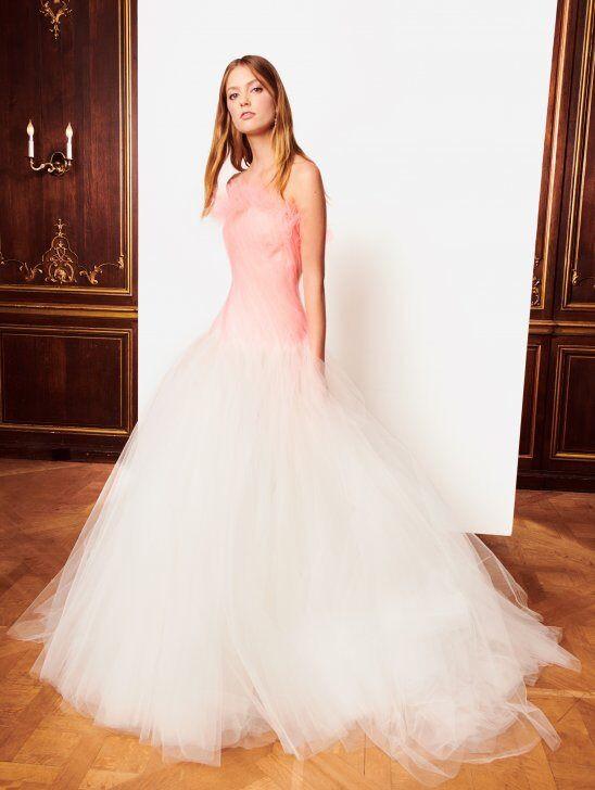 An Oscar de la Renta blush ombre tulle ball gown wedding dress