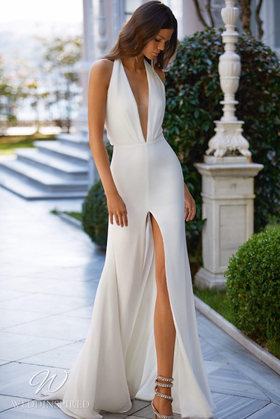 A Milla Nova 2021 simple sexy satin halterneck sheath wedding dress with a low v neckline