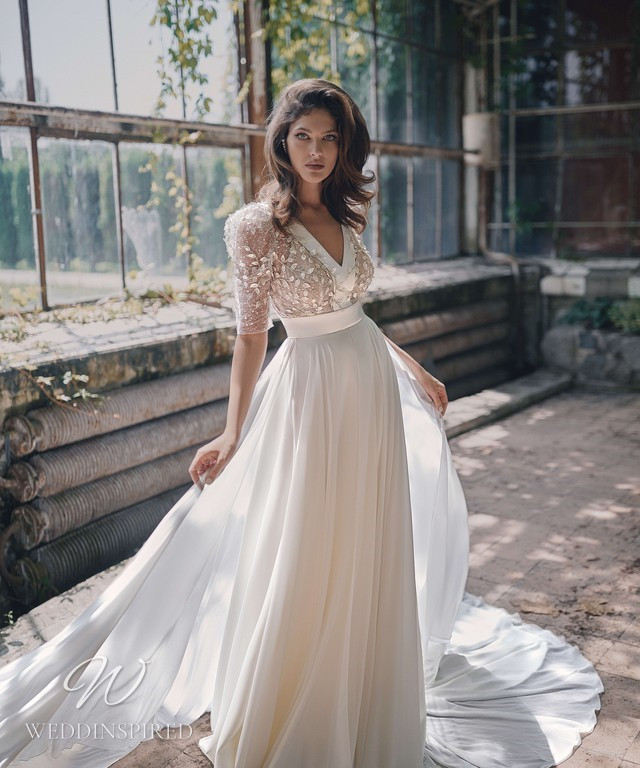 An Ange Etoiles 2021 flowy chiffon A-line wedding dress with half sleeves