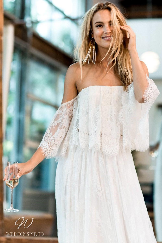A Grace Loves Lace off the shoulder boho gypsy style lace A-line wedding dress