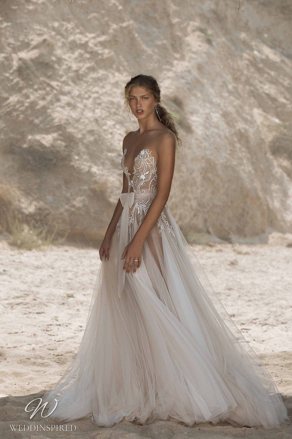 A Muse by Berta ivory tulle A-line beach wedding dress with glitter and sparkles