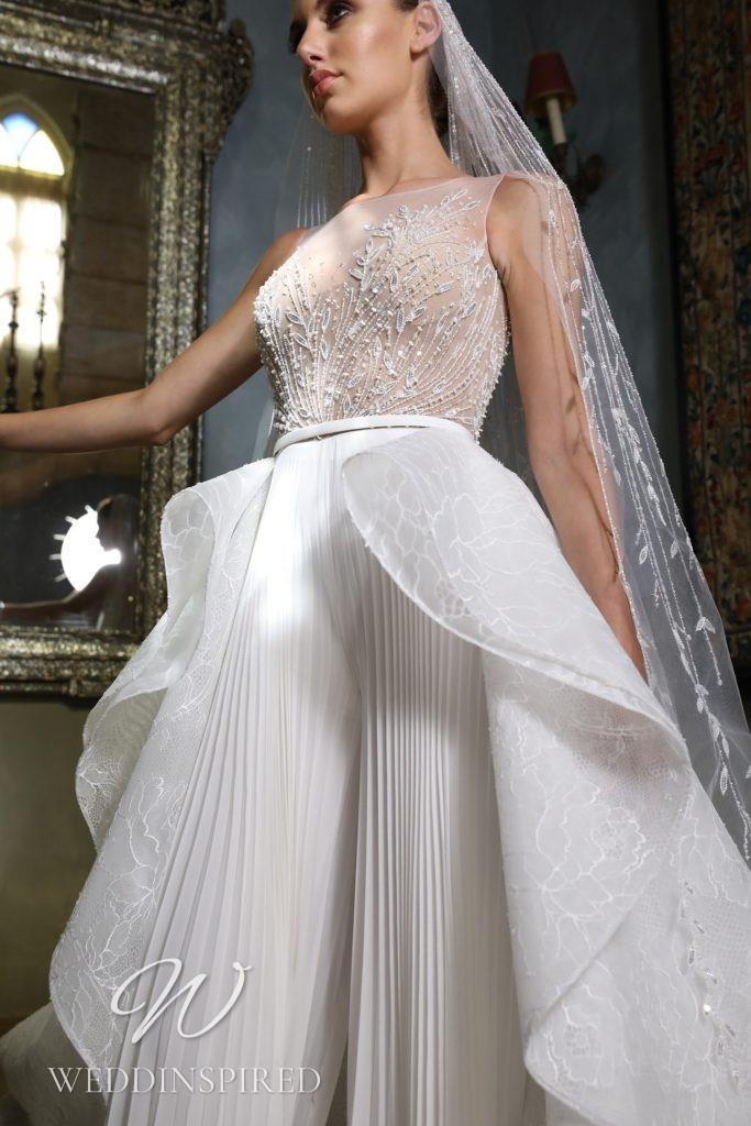 A Georges Hobeika 2021 flowy wedding jumpsuit or pantsuit
