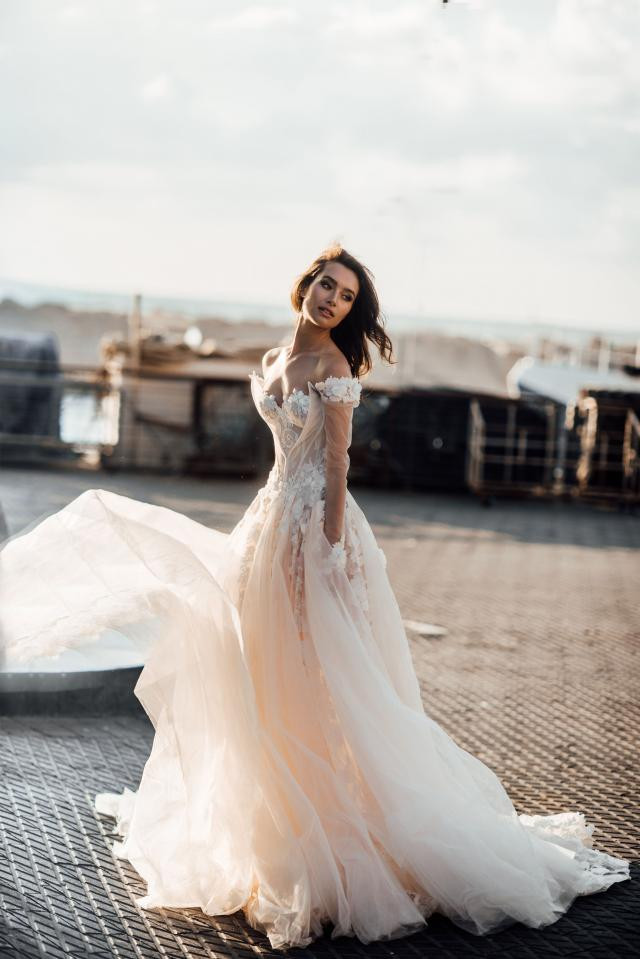 A Galia Lahav blush lace and tulle off the shoulder ball gown wedding dress