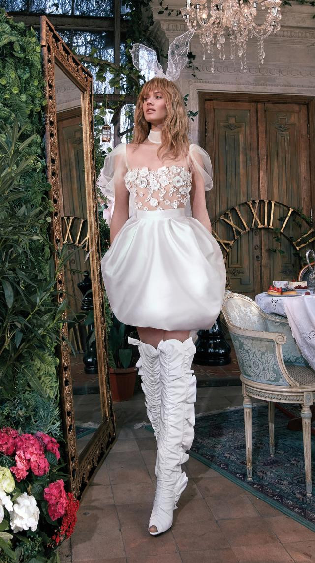 A Galia Lahav short silk wedding dress with balloon sleeves