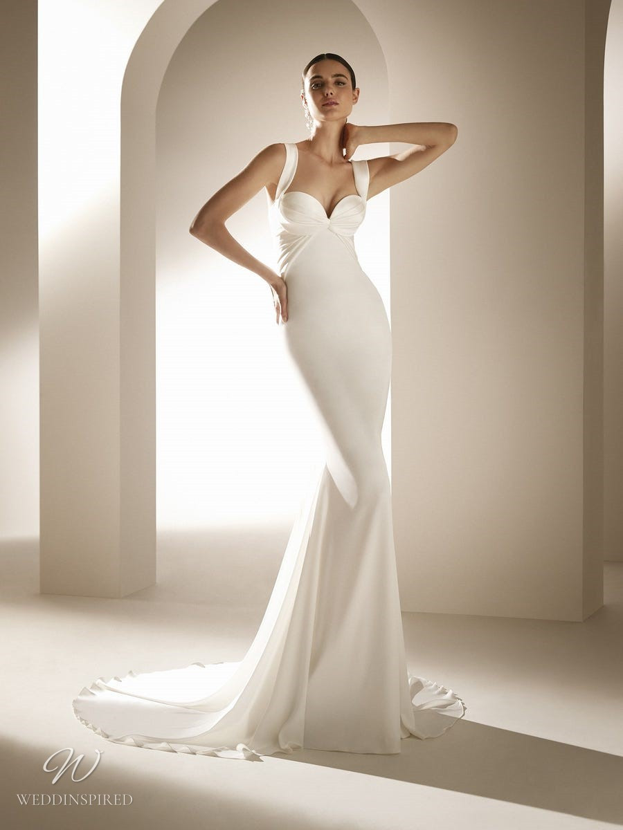 An Atelier Pronovias silk mermaid wedding dress with a sweetheart neckline and straps