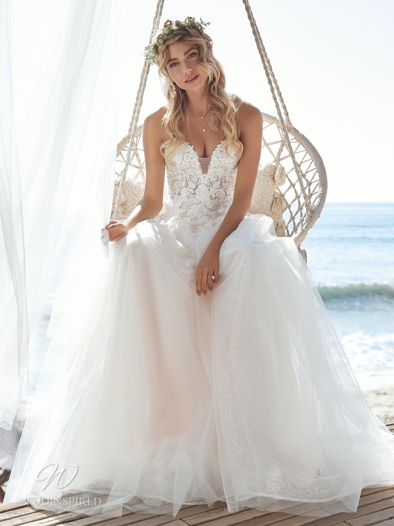 A Rebecca Ingram 2020 strapless lace and tulle A-line wedding dress