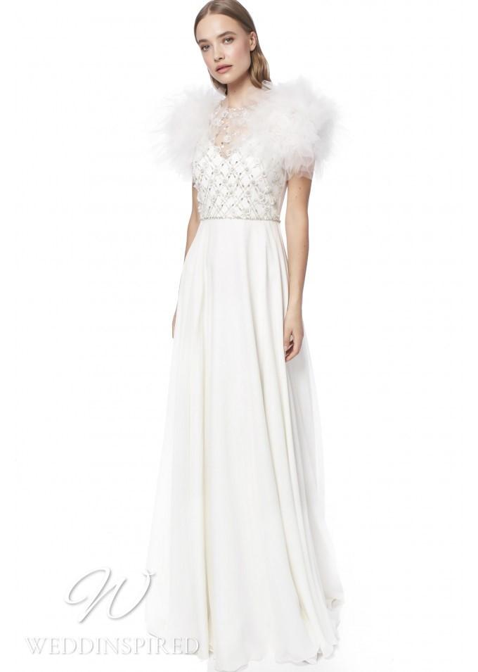 A Jenny Packham 2021 sheath wedding dress with a v neckline