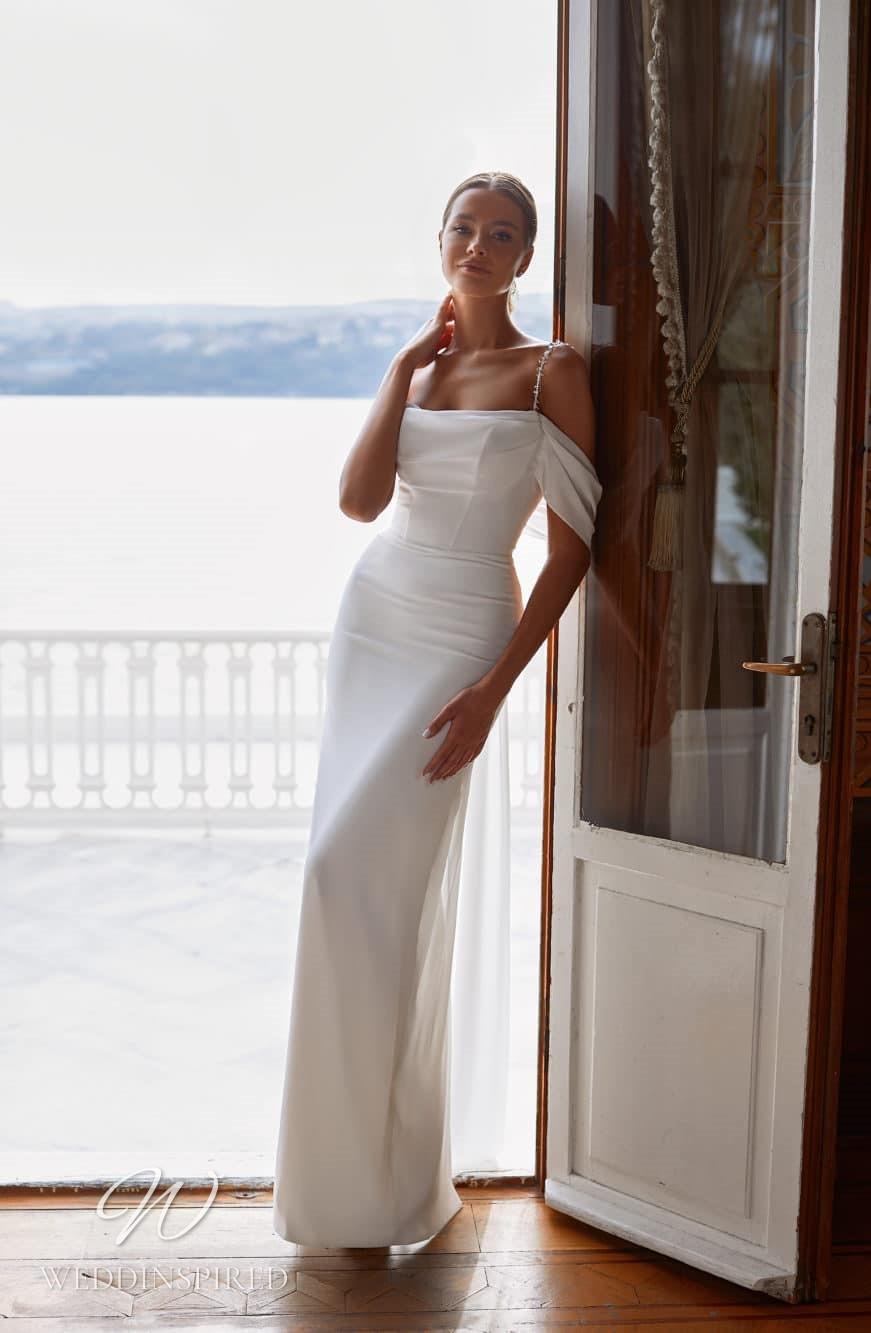 A Milla Nova 2021 simple satin off the shoulder mermaid wedding dress